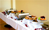 breakfast buffet setup at Elijahs